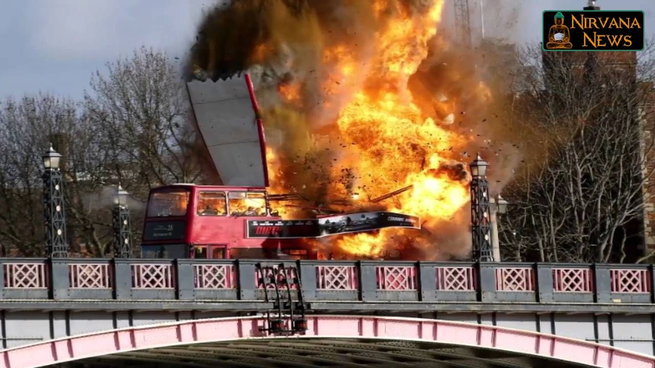 Film Explosion Of London Bus Frightens Residents
