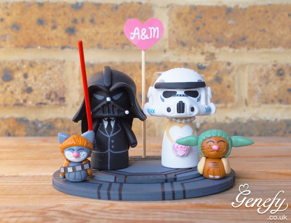 Darth vader groom and Stormtrooper bride and Yoda and Chewbacca cat wedding cake topper  https://www.facebook.com/genefyplayground