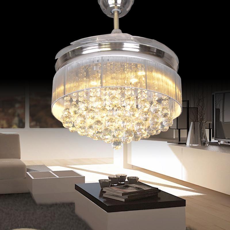 Led Ceiling Fans Light 110 240V Invisible Blades Modern Fan Lamp Living Room European Chandelier 36 42 Inches