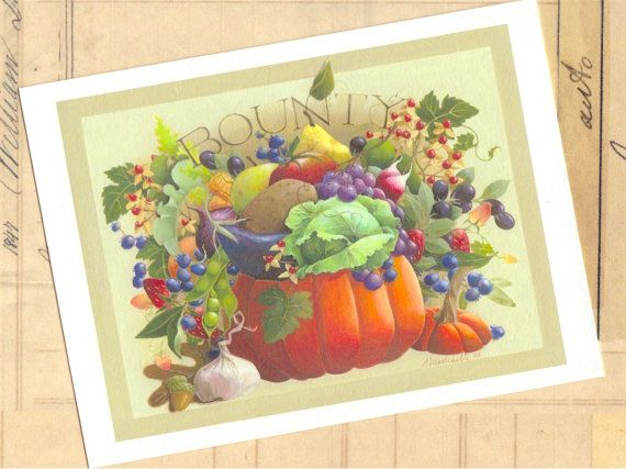 bountiful pumpkin cornucopia fruit vegetable by atticEditions, $10.00