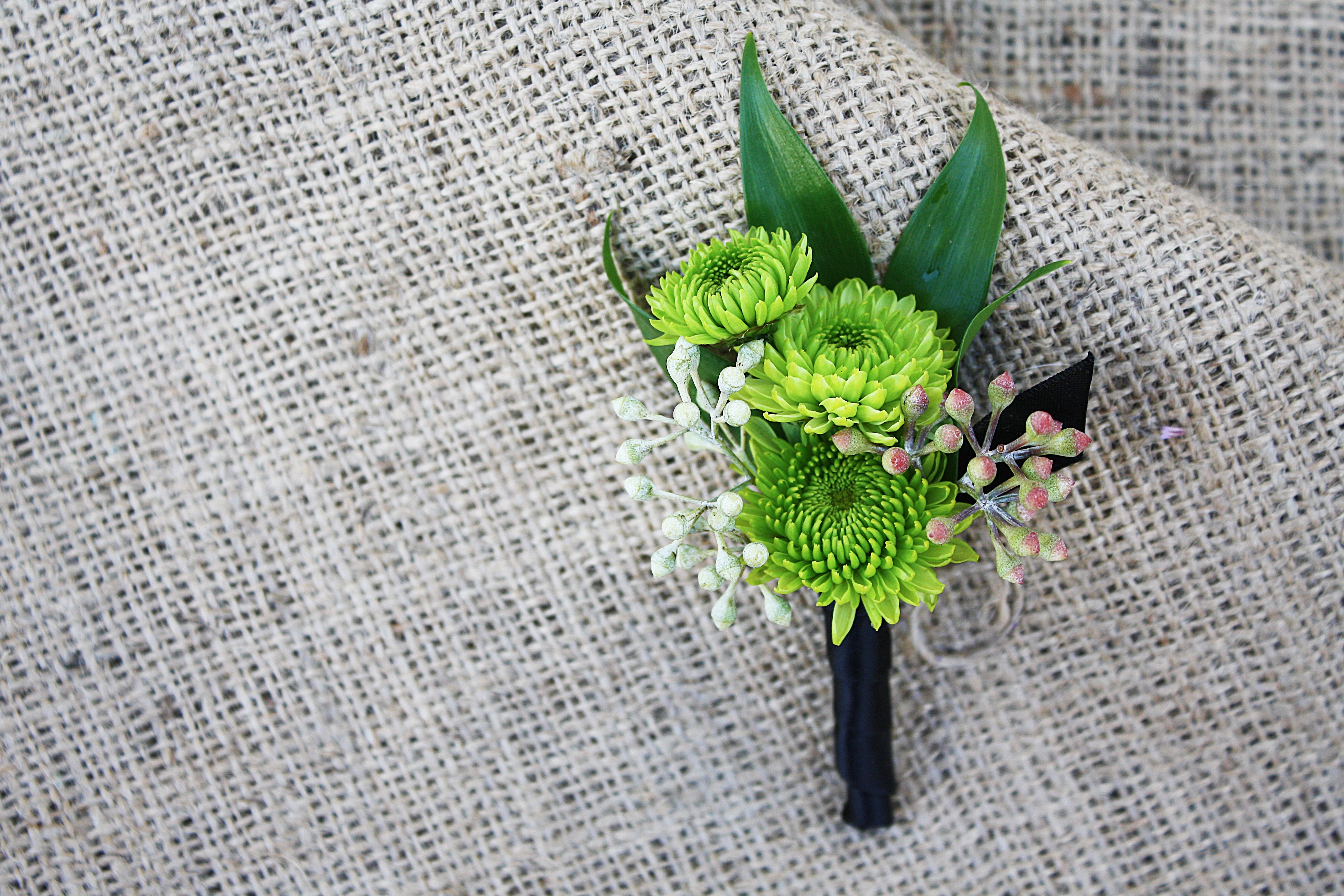 Green Mum and Seeded Eucalyptus Bout - Four Seasons Flowers