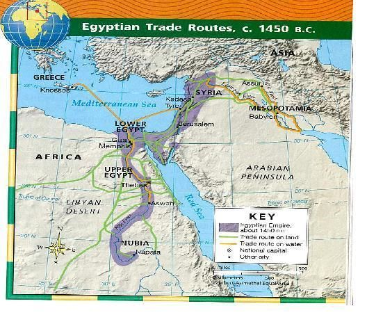 Egypt Trade Routes Map 1450 B.C. | Mapas y Planos | Pinterest ...