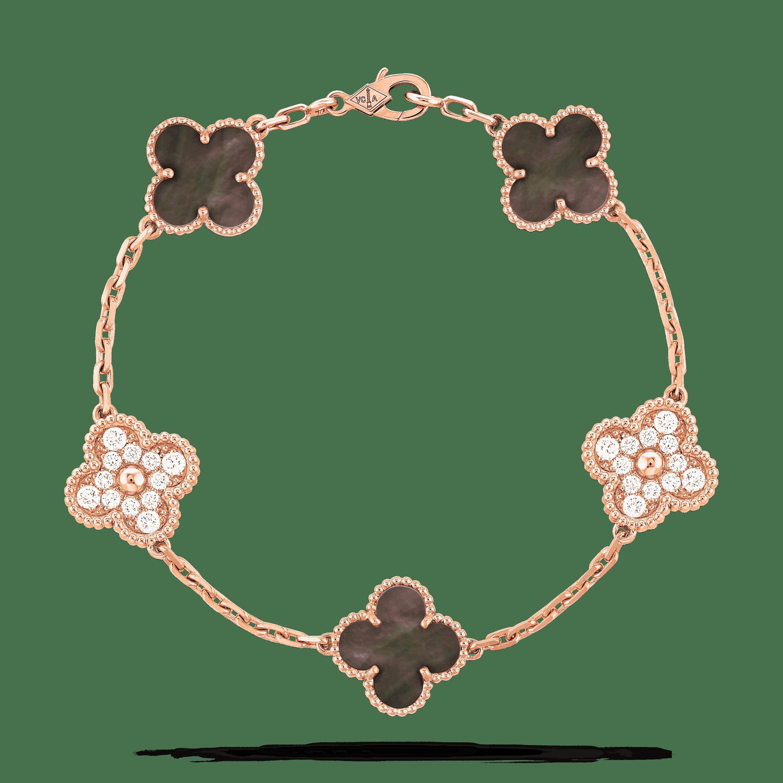 Vintage Alhambra Bracelet 5 Motifs Vcarp2r100 Van Cleef Arpels Van Cleef And Arpels Jewelry Vintage Diamond Jewelry Four Leaf Clover Necklace