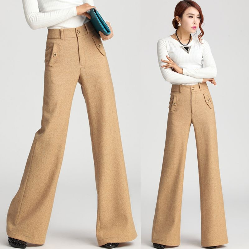 Find More Pants   Capris Information about European Style Winter Autumn  Fashion Formal Womens Khaki Wide Leg Wool Trousers  7cb8748ddc0f