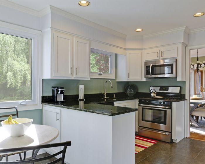 wände streichen ideen grüne wandfarbe küche streifenteppich - kche wandfarben