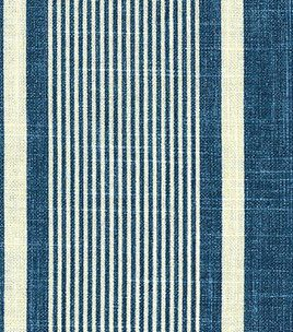 Home Decor Fabrics-Waverly Berkley Stripe Indigo Fabric # 1506161 reg. 49.99 sale 24.99