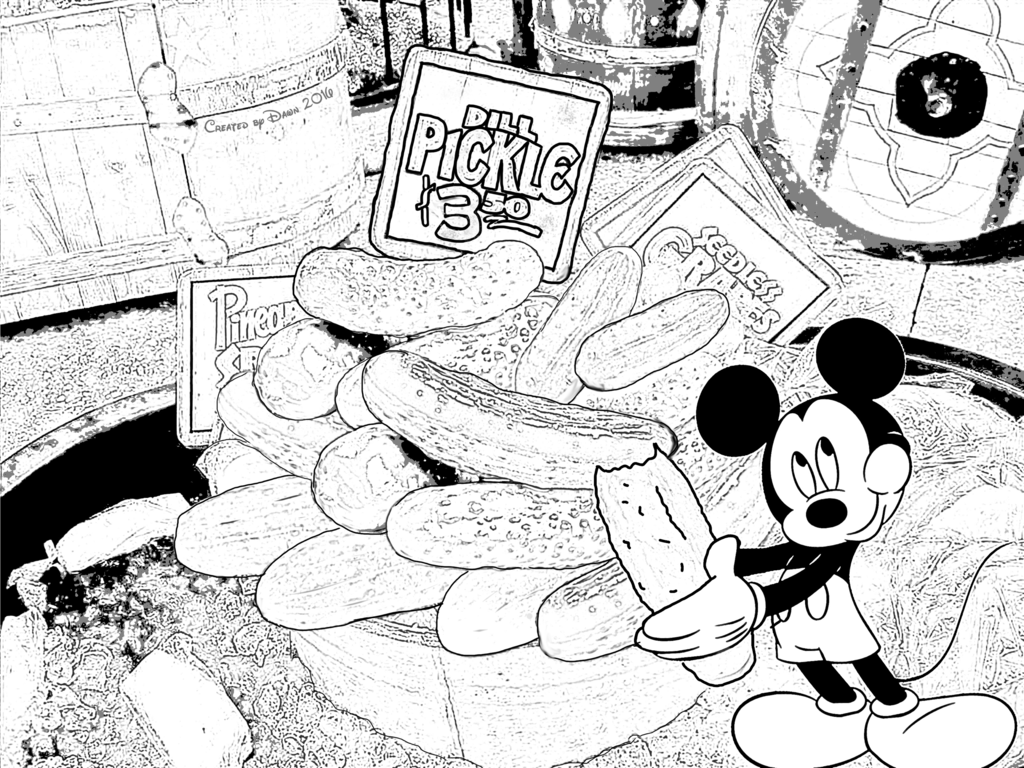 Mickey Mouse Pickles Disneyland Coloring Book Page