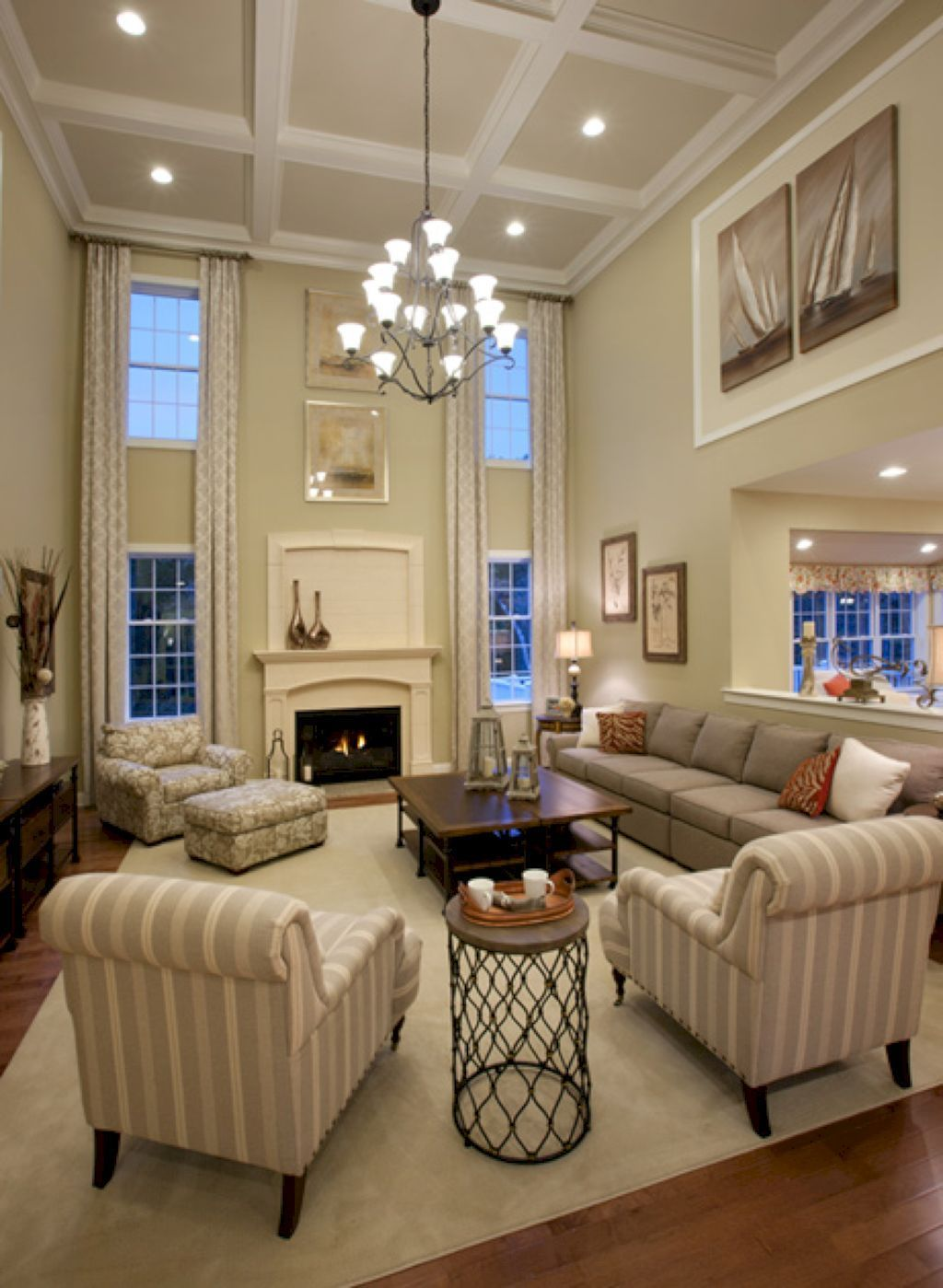 48 Amazing Wooden Ceiling Design High Ceiling Living Room