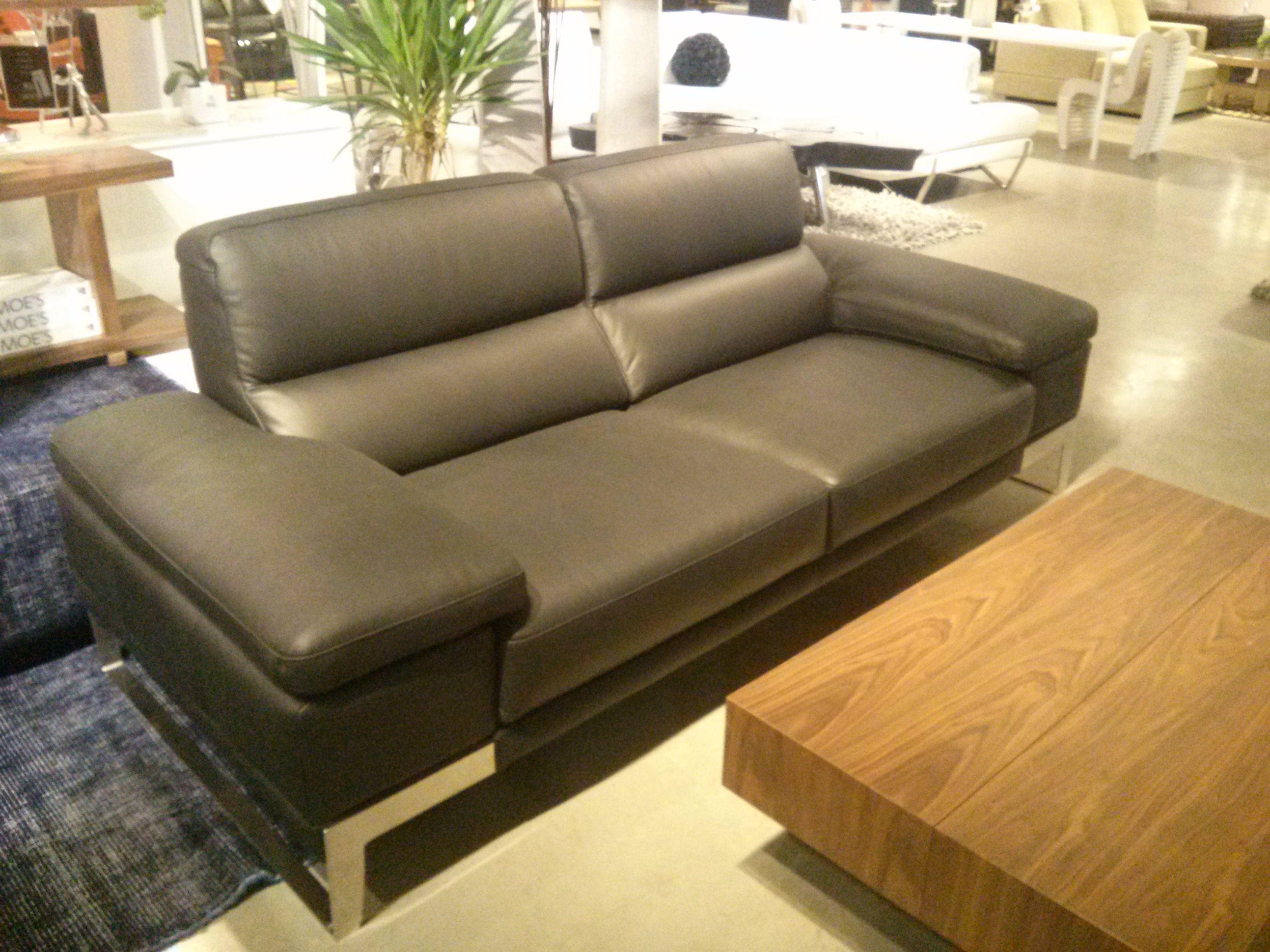 Asiago Sofa By Nicoletti Black Top Grain Leather With Stainless