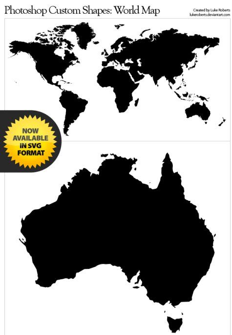 The Ultimate Collection Of Custom Photoshop Shapes World Map