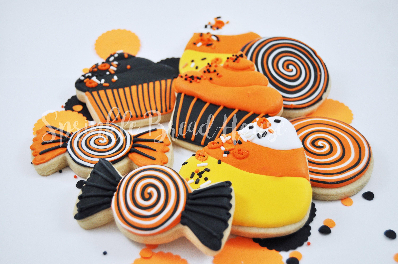 Halloween candy sugar cookies pumpkin spice cookies