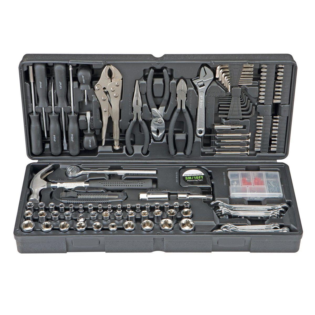 harbor freight hand tools. 130 pc tool set u0026 case auto home repair kit sae metric lifetime warranty in garden tools hand mixed sets harbor freight e
