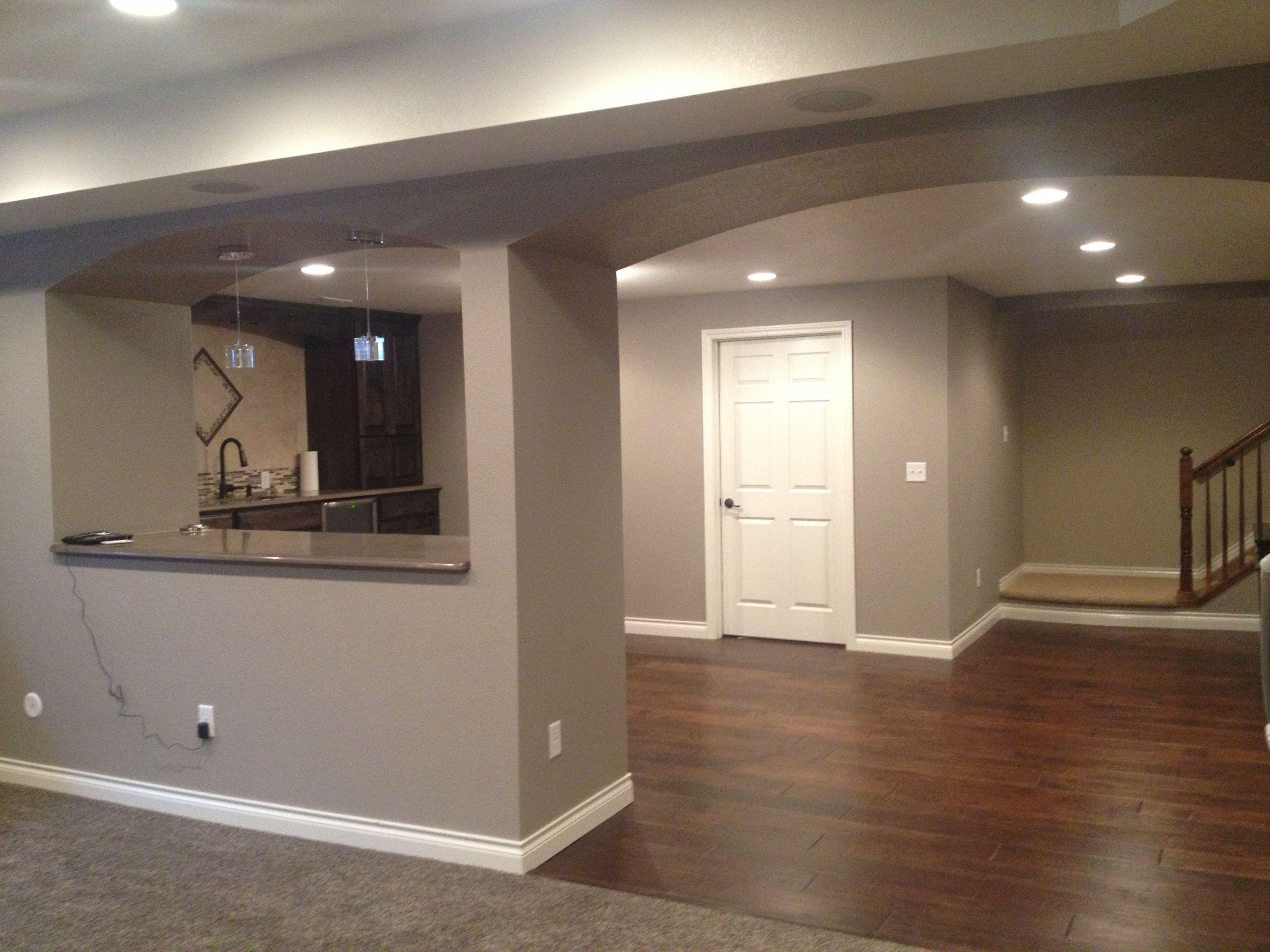 Finished basement Sherwin Williams Mega Griege | Home ...
