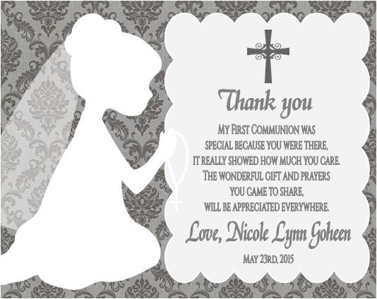 First Communion Thank You Note Card - Personalized. For Girl or Boy. Damask Background.