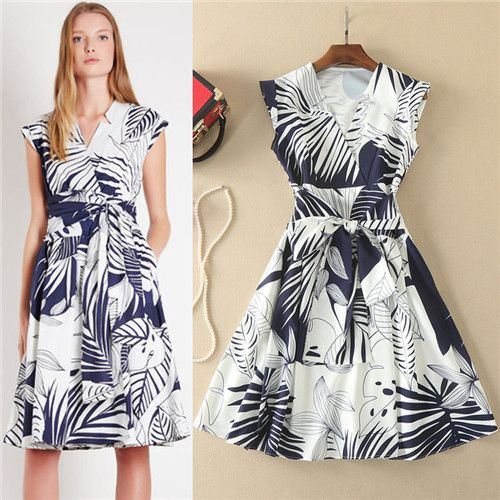 >> Click to Buy << Newest Summer Dress 2017 Womens Fashion Dresses Sleeveless Charcoal Drawing Leaf Vestidos Casual Women Tank Dress High Quality #Affiliate