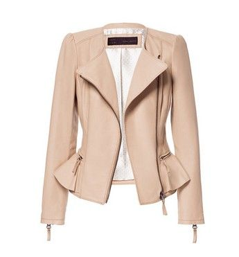 Loving this nude Zara peplum jacket for fall!  FallingforAutumn ... a933477f0a3a9