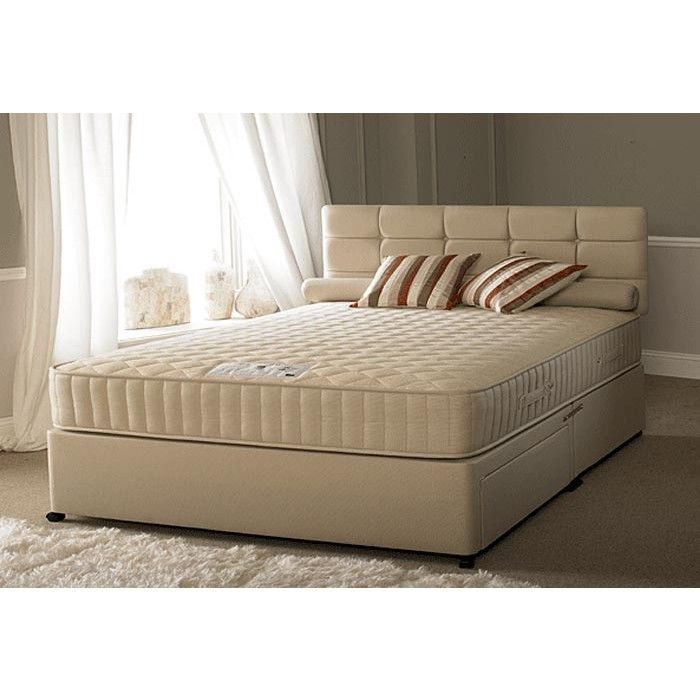Elegant Cream Leather Bed In Divan Style Augmented By Headboard