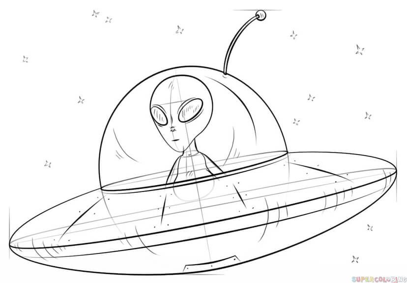 How To Draw An Alien Spaceship Step By Step Drawing Tutorials