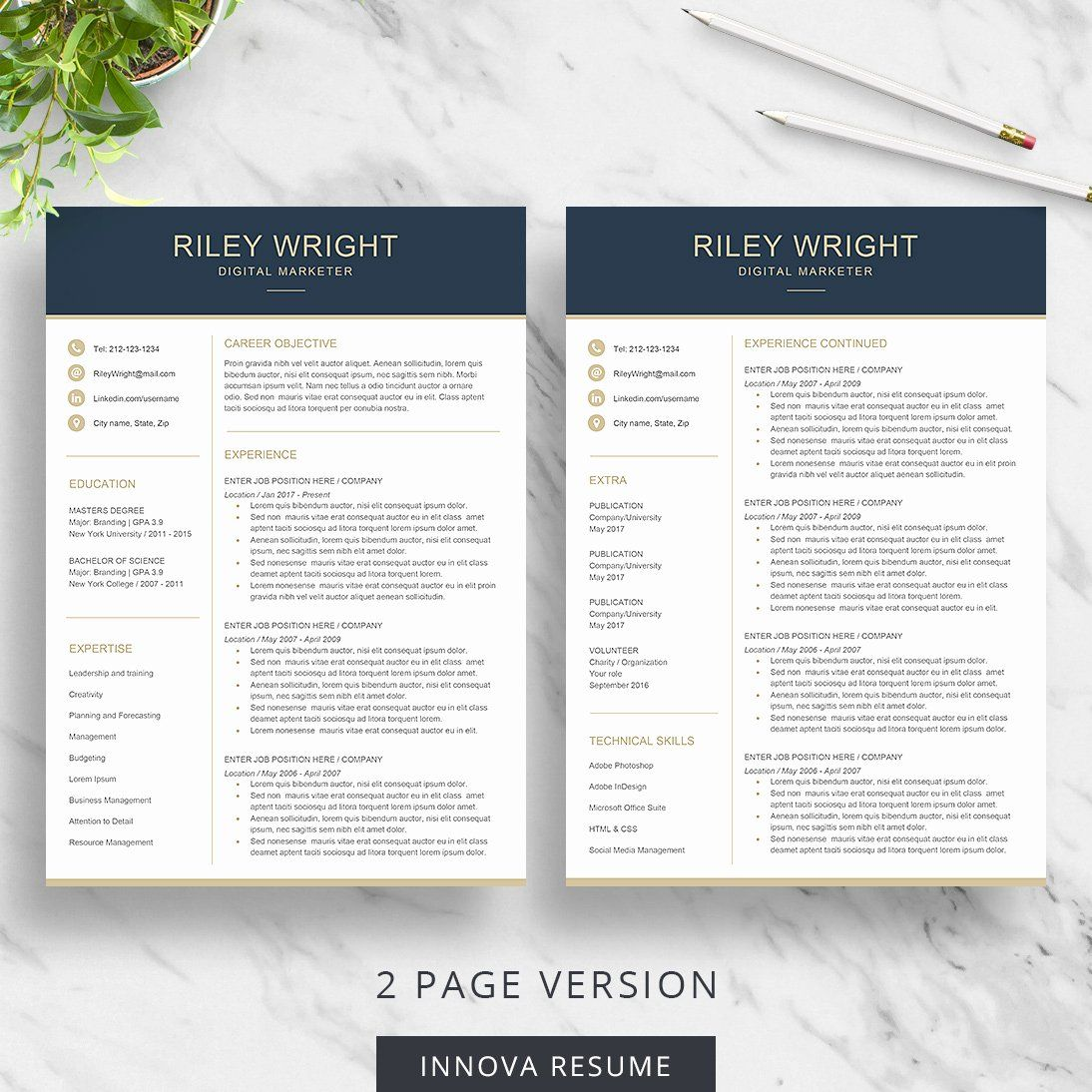 2 Page Resume format Lovely Modern Resume Template Innova