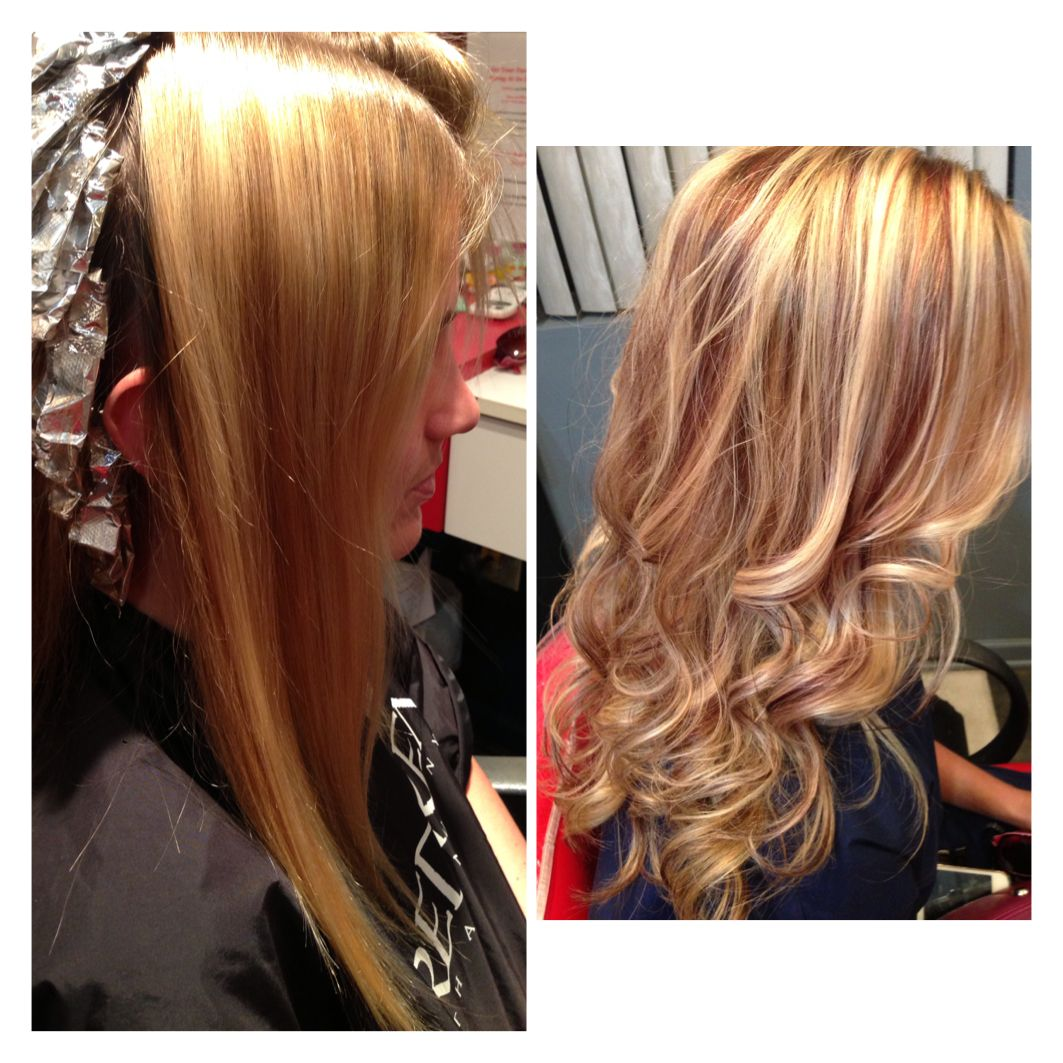 Blonde hair with red highlights | stylin | Pinterest ...