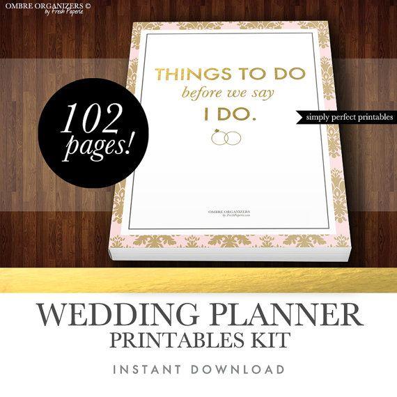 wedding planner kit pdf digital printables for planning binder