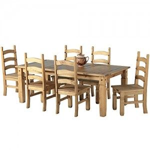 Mexican Corona 6ft Pine 70 Dining Table Set 6 Chairs Antique Waxed 0