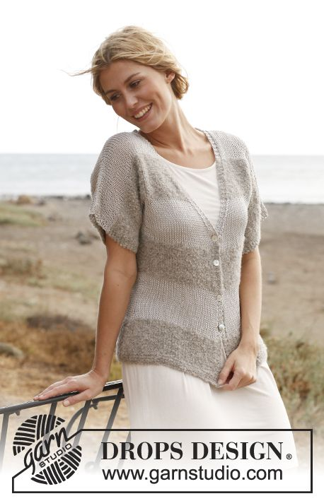 "Seaside Horizons - Knitted DROPS jacket in ""Alpaca Bouclé"" and ..."