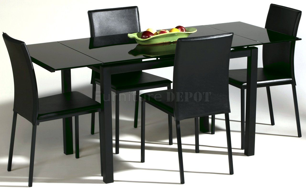 Black Glass Top Modern Dining Table W Optional Chairs