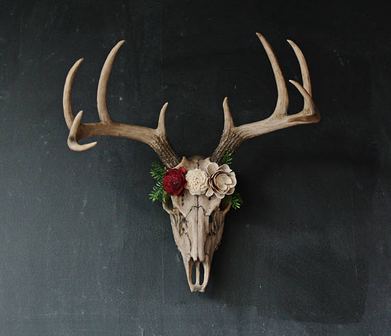 Faux Taxidermy Large Deer Skull Fl