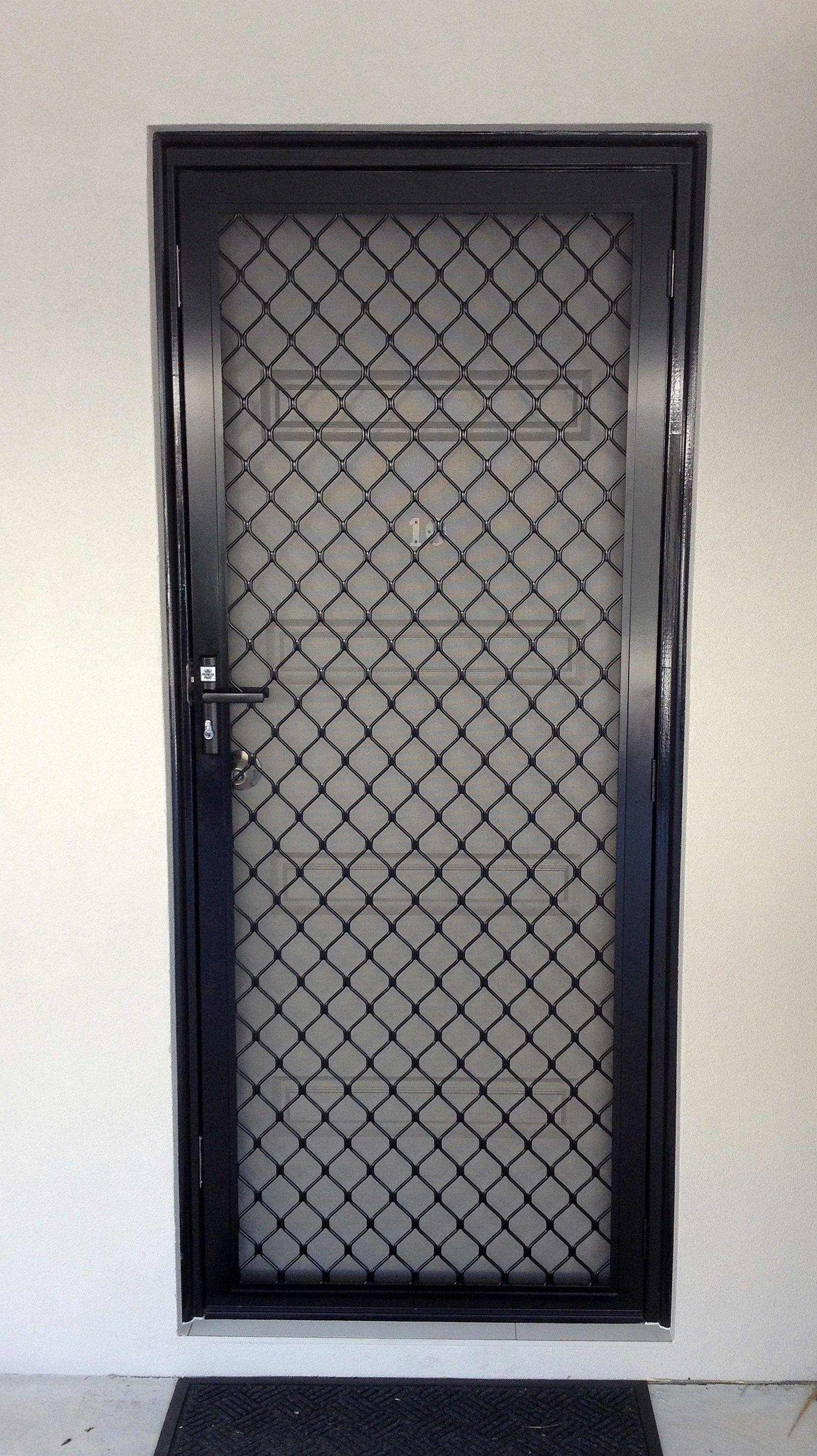 Black diamond grille security screen door diamond grille for Entry door with screen and glass