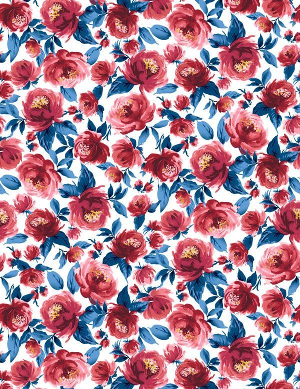 Veronica Wallpaper By Wallshoppe Red And Blue Vintage Flowers Wallpaper Flower Wallpaper Red Wallpaper