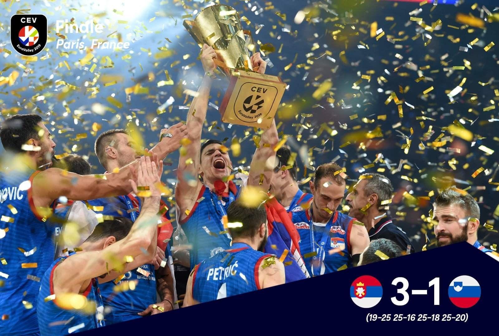 Serbia Man S Volleyball Team Champions 2019 Eurovolleym Serbia Mens Volleyball Volleyball Team