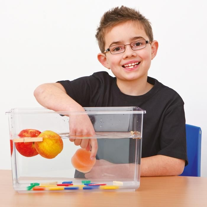 Transparenter Demonstrationsbehälter für Experimente zu Masse und Gewicht im Wasser. | BACKWINKEL