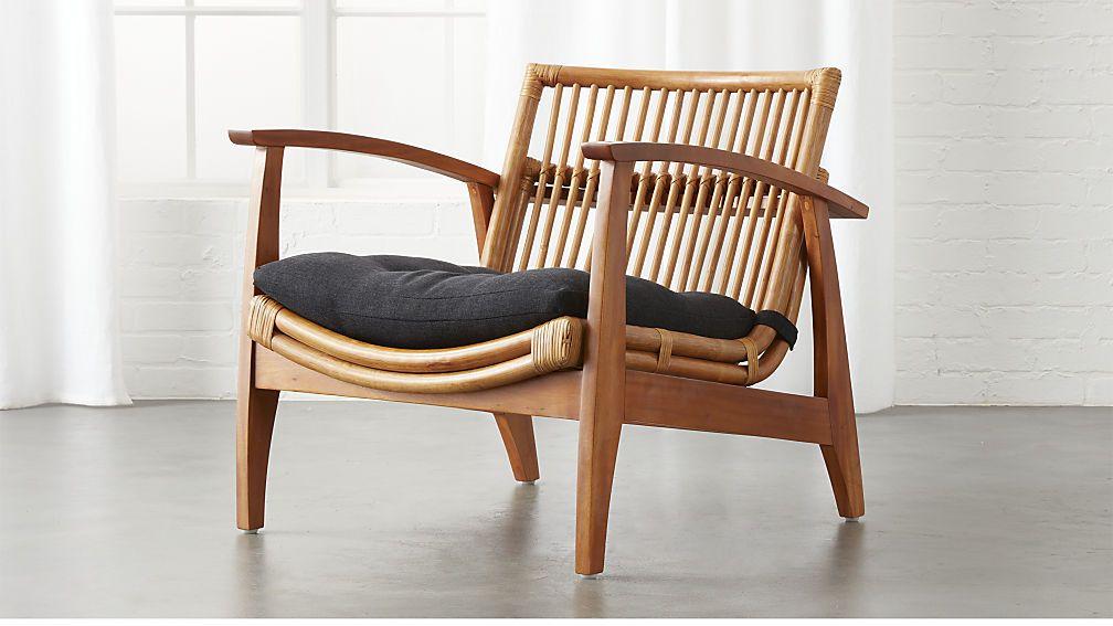 Noelie Rattan Lounge Chair With Cushion Cb2 Rattan Lounge Chair Lounge Chair Design Modern Lounge Chair Design
