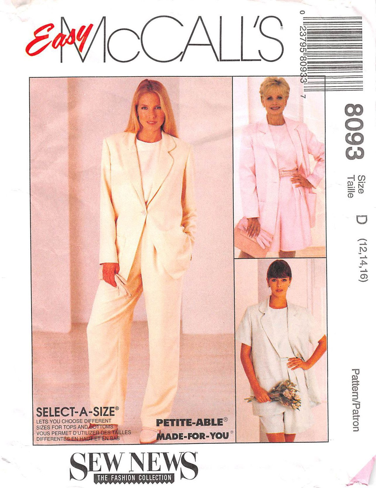Mccalls 8093 - from 1996 - uncut - misses jacket, top, trousers and ...