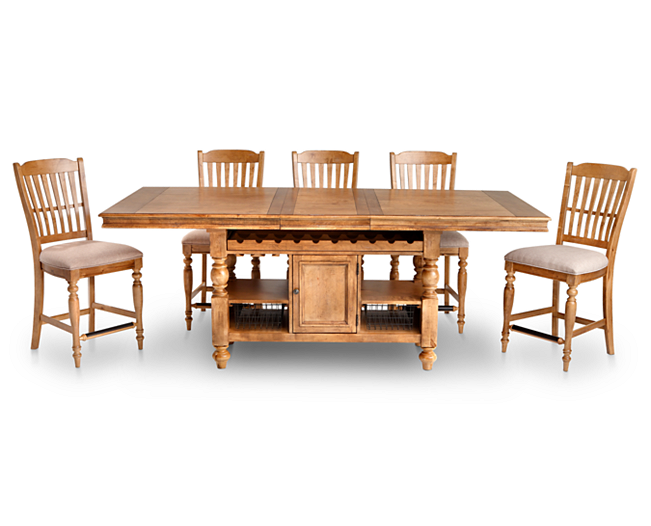 Lake House 5 Pc Counter Height Island Table Group Furniture Row