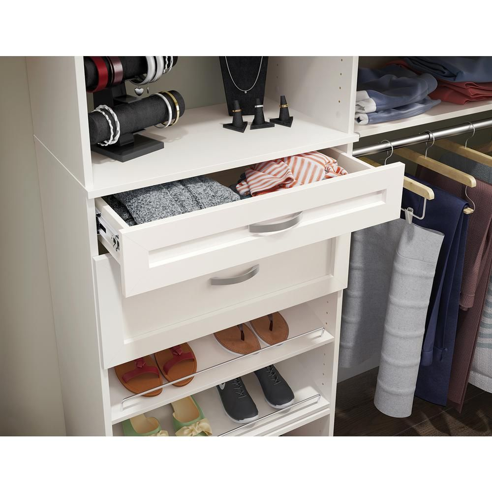 Closetmaid Style 5 In H X 25 In W White Melamine Shaker Drawer Kit For 25 In W Tower 1872 Closetmaid Modern Drawers Traditional Drawers