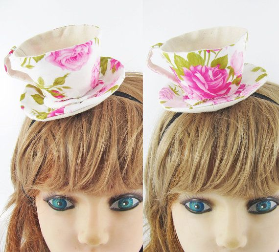 Teacup Fascinator-Tea Rose Fuchsia Pink by miwary on Etsy