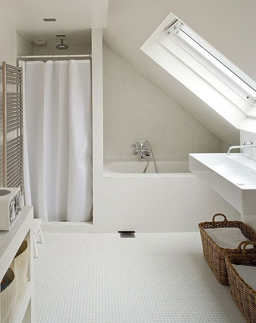 Merveilleux Wonderfully Simple White Loft Bathroom. Love The Built In Shower And Bath,  And The Way They All Fit Beautifully Under The Sloping Ceiling.