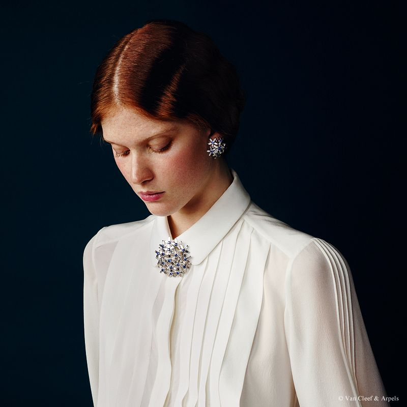 "Van Cleef & Arpels new ""Jewelry and Watches"" catalog. Pissenlit Saphirs earrings, Palais de la chance collection, white gold, sapphires and diamonds. Pissenlit Saphirs clip, Palais de la chance collection, white gold, sapphires and diamonds."