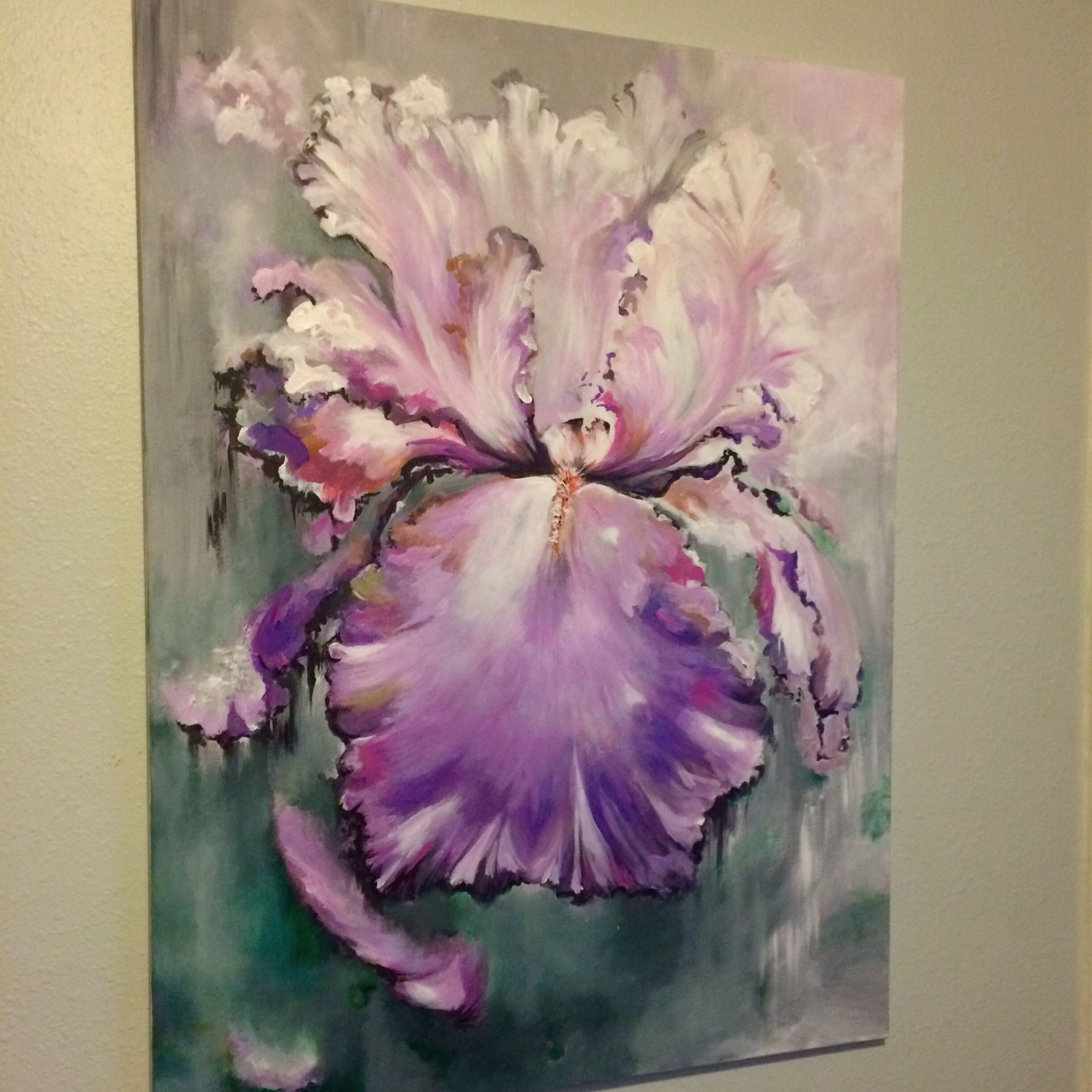 Iris in shades of pink purple and grays depicting and
