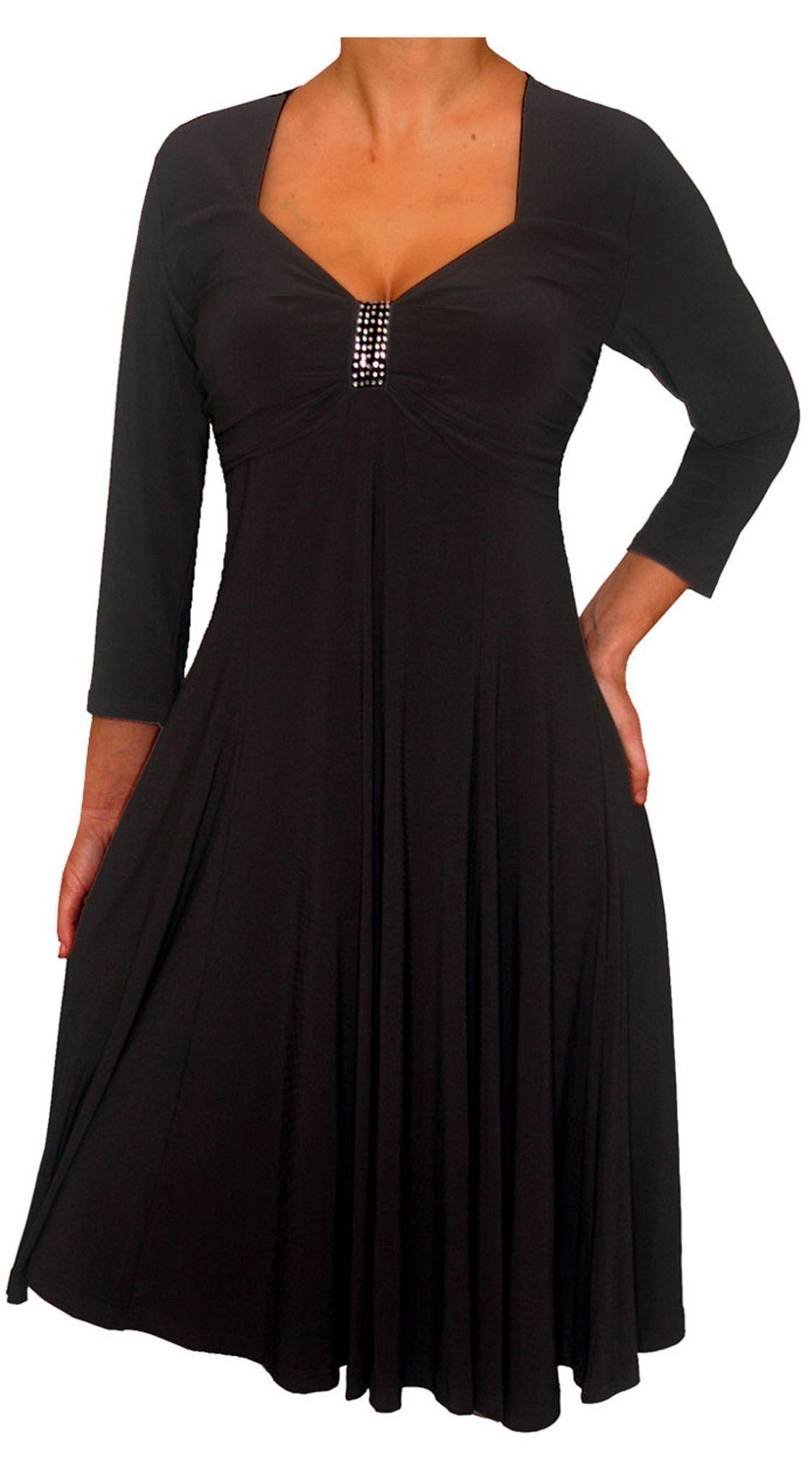 Funfash plus size black dress long sleeves black empire waist