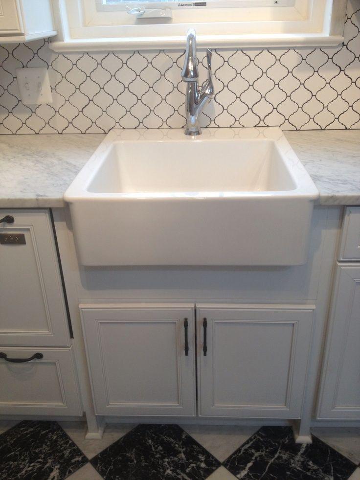 Finished ikea farmhouse sink and brizo faucetbacksplash