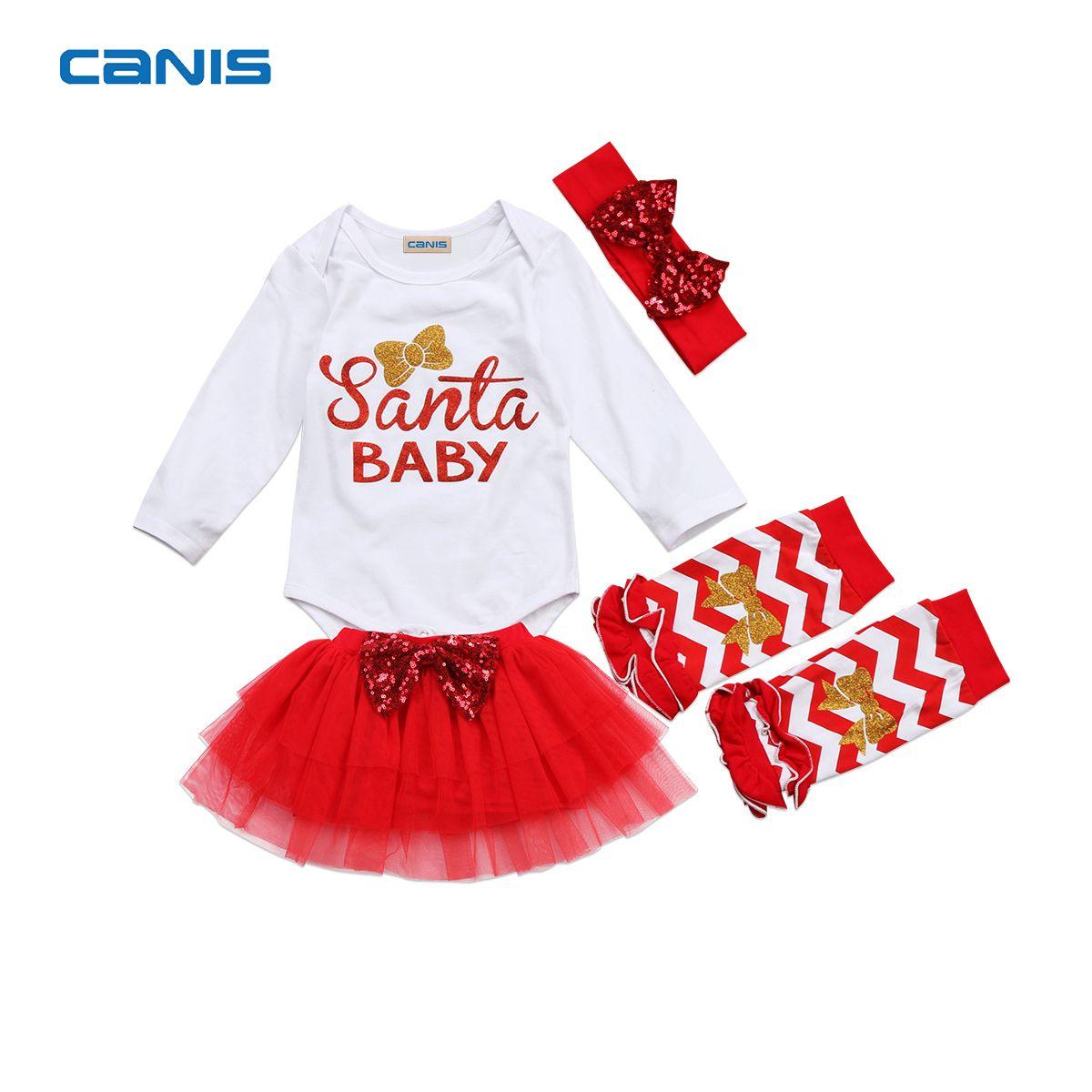 2017 Brand New 4 Pcs Newborn Toddler Infant Baby Girl Santa Romper ...