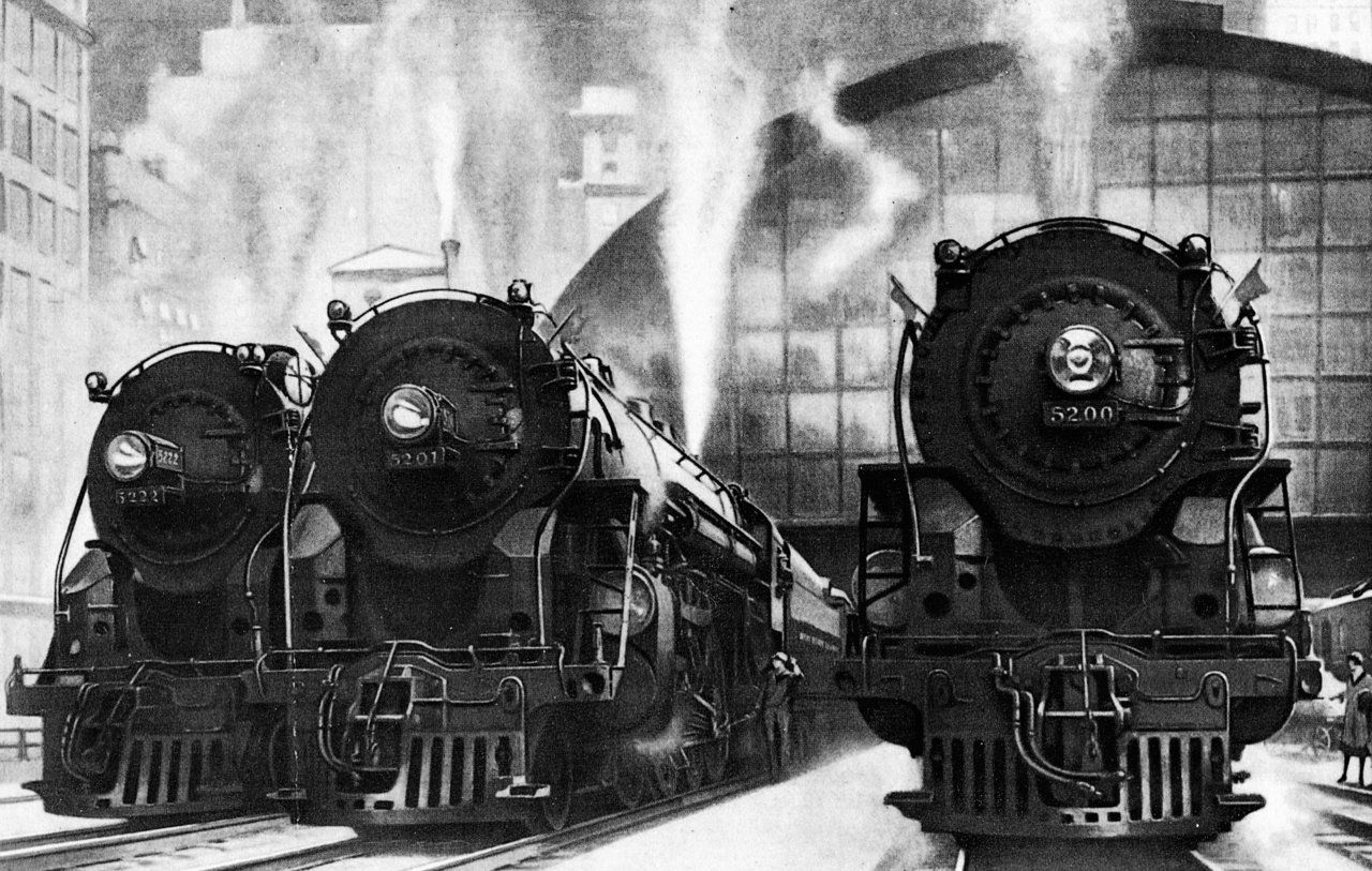 Vintage Grand Central Station Train Art Deco Streamliners Train Art Railroad Art Grand Central Station