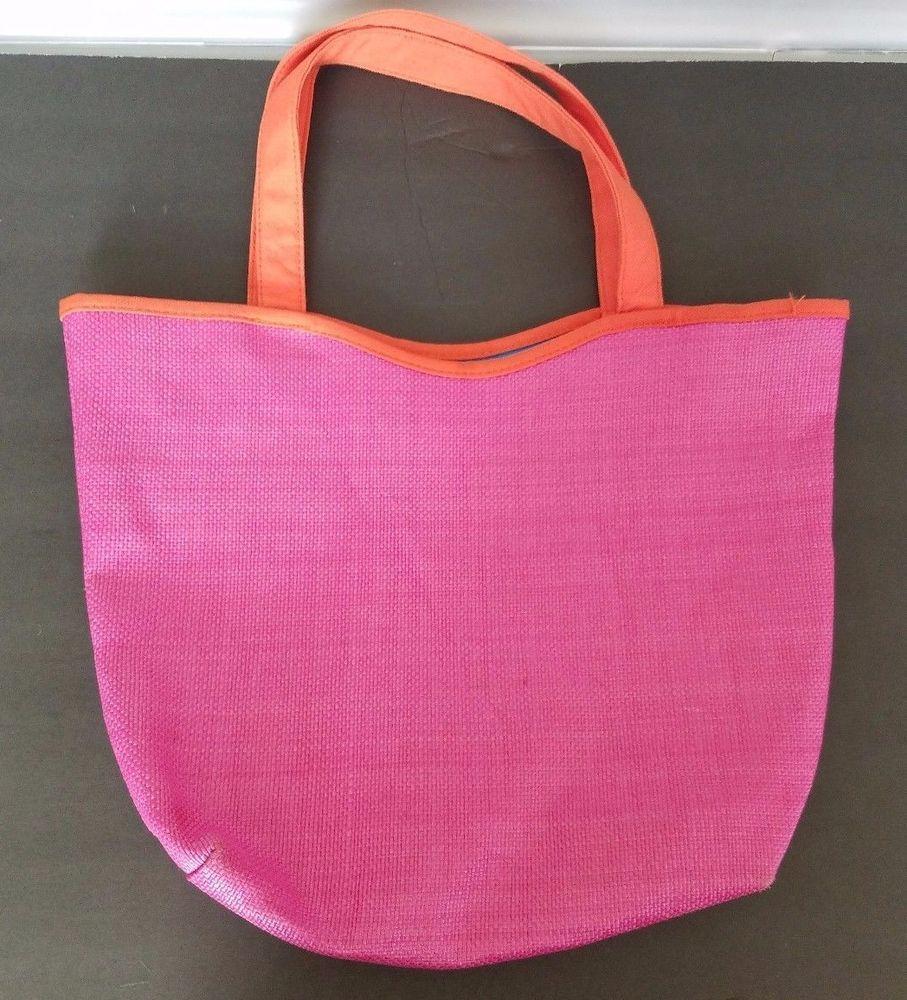 b566f30028a LANCOME Paris TOTE Beach BAG Pink Blue floral Woven Reversible 12x10x3   Lancome  TotesShoppers