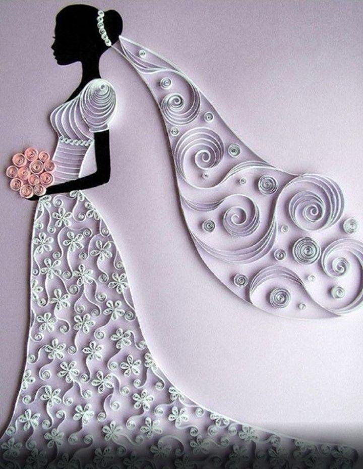 dibujo de vestido de novia hecho de papel. | relieve | sobres de