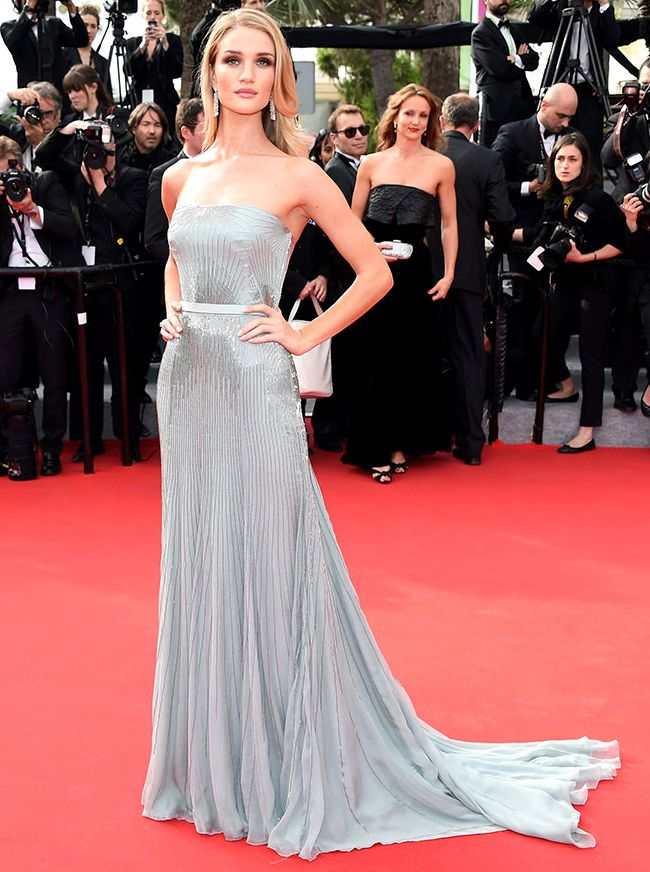 Rosie Huntington-Whiteley ultra glamorous in Gucci strapless silver  geometric rays embellishment grey gown at the  RedCarpet during  Cannes  Film Festival ... 1b0c642bb928