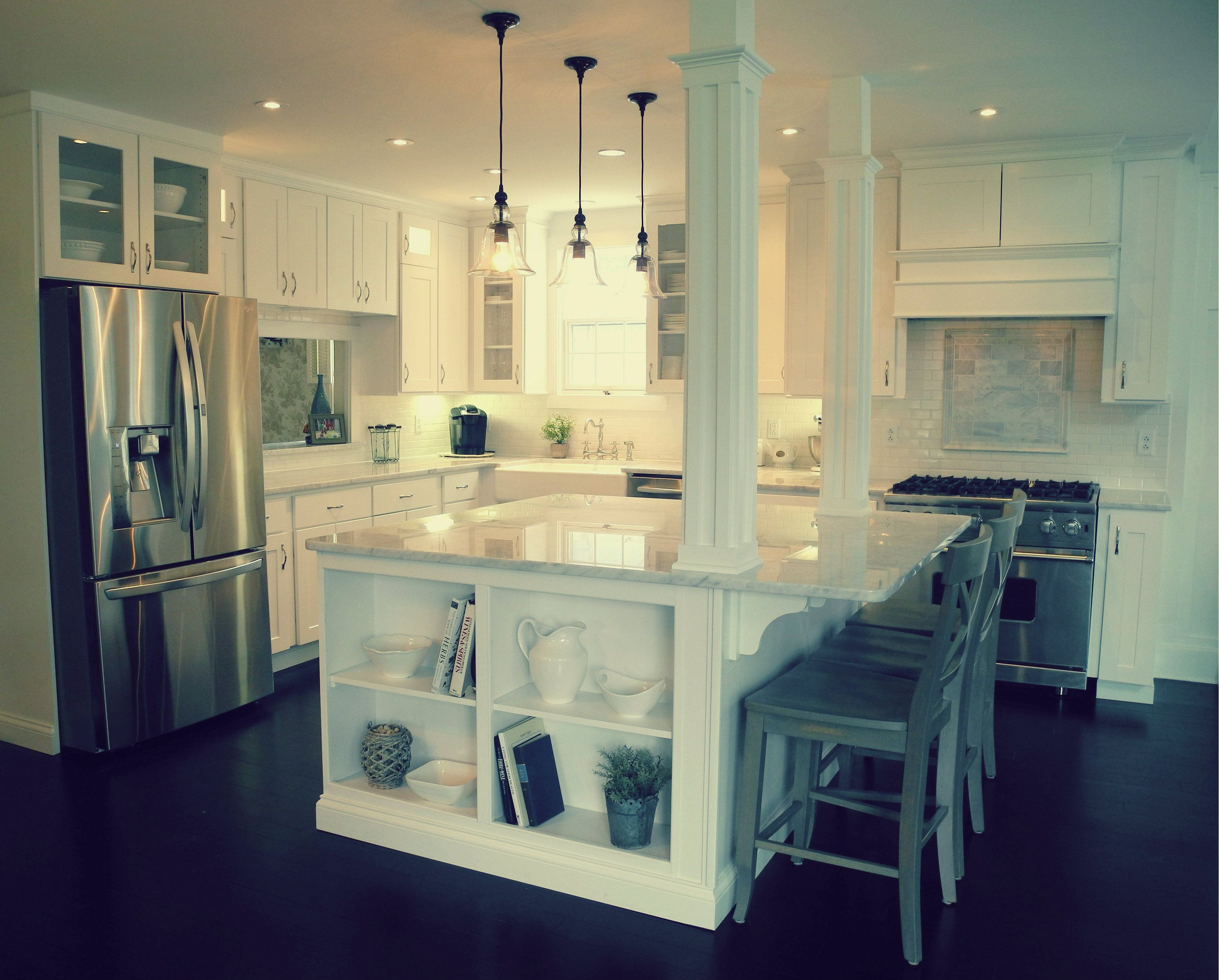white kitchen carrera marble counters subway tile shaker