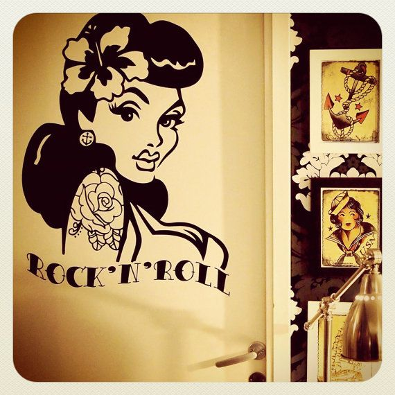 Old School Pin Up Girl Wall Decal by MissCats on Etsy, €45.00 | For ...